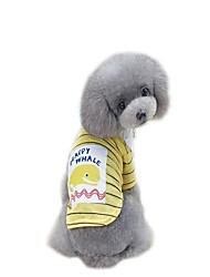 baratos -Cachorros Macacão Vestidos Camisetas Roupas para Cães Slogan Desenho Animado Amarelo Verde Tecido Alcochoado Algodão / Poliéster Ocasiões
