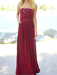 cheap -Women's Swing Dress - Solid Colored High Waist Maxi Strapless