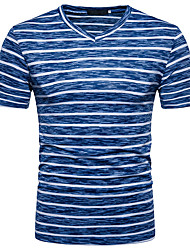 baratos -Homens Camiseta Moda de Rua Com Transparência, Listrado Estampa Colorida