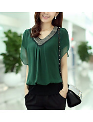 cheap -Women's Basic Blouse - Solid Colored Beaded