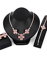 cheap -Women's Opal / Cubic Zirconia Jewelry Set - Zircon, Gold Plated, Opal Flower Include Chain Bracelet / Stud Earrings / Pendant Necklace Pink For Wedding / Evening Party