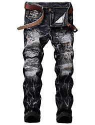 abordables -Hombre Chic de Calle Tallas Grandes Algodón Delgado Vaqueros Pantalones - Bloques Agujero