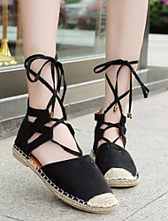 cheap -Women's Shoes PU(Polyurethane) Spring / Summer Comfort Sandals Flat Heel Round Toe White / Black / Brown / Lace up
