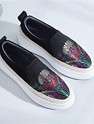 abordables -Femme Chaussures Autre Peau d'Animal Printemps Automne Confort Mocassins et Chaussons+D6148 Talon Plat Bout rond pour Noir