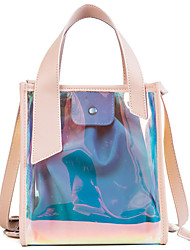 baratos -Mulheres Bolsas PVC / PU Conjuntos de saco 2 Pcs Purse Set Botões Verde / Rosa / Bolsas transparentes / Sacos de geléia a laser