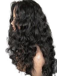 Недорогие -Необработанные натуральные волосы Лента спереди Парик Стрижка каскад стиль Бразильские волосы Волнистый Черный Парик 130% Плотность волос с детскими волосами Для темнокожих женщин Жен.