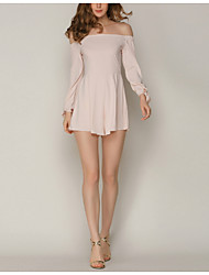 cheap -women's slim romper - solid colored high waist boat neck