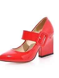 Недорогие -Жен. Обувь Дерматин Весна / Осень Туфли лодочки Обувь на каблуках На толстом каблуке Заостренный носок Пряжки Черный / Красный / Розовый