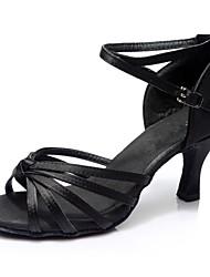 Недорогие -Жен. Обувь для латины Сатин / Дерматин Сандалии / На каблуках Планка Каблуки на заказ Персонализируемая Танцевальная обувь Коричневый /