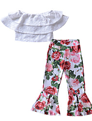 cheap -Girls' Going out Holiday Solid Colored Floral Clothing Set, Rayon Polyester Spring Summer Short Sleeves Street chic Boho White