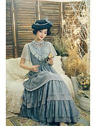povoljno -Classic / Tradicionalna Lolita Elegantno Žene Haljine Cosplay Obala Crn Sive boje Lolita Kratkih rukava Do gležnja