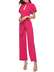 cheap -Women's Basic Street chic Jumpsuit - Solid Colored, Cut Out Ruffle Lace up