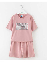 cheap -Kids Girls' Solid Colored Patchwork Short Sleeve Short Cotton Clothing Set