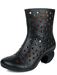 povoljno -Žene Cipele Koža Mekana koža Proljeće Jesen Modne čizme Čizme Kockasta potpetica za Kauzalni Crn Žutomrk