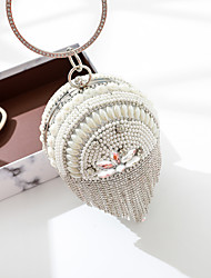 cheap -Women's Bags PU Leather Evening Bag Crystals / Pearls / Tassel Gold / Black / Silver