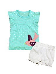 cheap -Unisex Going out Holiday Solid Colored Polka Dot Print Clothing Set, Cotton Acrylic Spring Summer Short Sleeves Cute Active Light Blue