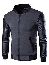 cheap -Men's Basic Street chic Leather Jacket - Color Block