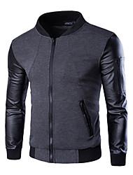 Недорогие -Муж. Кожаные куртки Классический Уличный стиль - Контрастных цветов