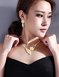 abordables -Mujer Conjunto de joyas - Plateado, Chapado en Oro Forma de Hoja Vintage Incluir Pendientes colgantes / Collares con colgantes / Los sistemas nupciales de la joyería Blanco / Amarillo Para Boda