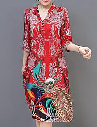 cheap -Women's Plus Size Going out Holiday Boho Loose Shift Dress - Geometric Print V Neck