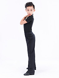 cheap -Latin Dance Outfits Boys' Training Performance Polyester Split Joint Short Sleeves Natural Top Pants