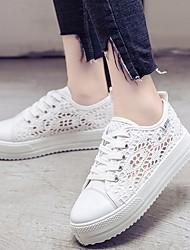Недорогие -Жен. Обувь Кружева Весна / Осень Удобная обувь Кеды На плоской подошве Белый / Черный