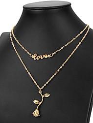 preiswerte -Mehrschichtig Y Halskette - Liebe Klassisch Gold, Silber 45 cm Modische Halsketten Für Alltag