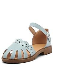 baratos -Mulheres Sapatos Courino Verão Conforto Sandálias Salto Robusto Dedo Fechado Bege / Azul Escuro / Rosa claro / Festas & Noite