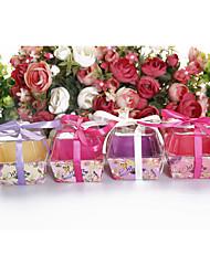 abordables -cube Plastique Titulaire de Faveur avec Ceinture / Ruban Boîtes à cadeaux