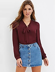 baratos -Mulheres Blusa Fofo Moda de Rua Laço, Sólido