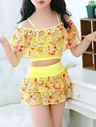 cheap -Girls' Floral Swimwear, Others Blue Yellow