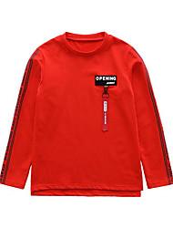 preiswerte -Jungen T-Shirt Solide Buchstabe Baumwolle Frühling Herbst Langarm Einfach Niedlich Aktiv Weiß Schwarz Rote