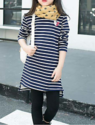 cheap -Girls' Stripe Tee, Cotton Polyester Winter Fall Stripes Red Navy Blue