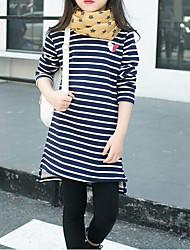 preiswerte -Mädchen T-Shirt Streifen Baumwolle Polyester Winter Herbst Streifen Rote Marineblau