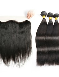 cheap -Brazilian Hair Wavy One Pack Solution / Human Hair Extensions / Hair Weft with Closure Human Hair Weaves Soft / Silky / Hot Sale Natural Black Human Hair Extensions Women's