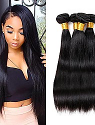 cheap -4 Bundles Peruvian Hair Straight Virgin Human Hair Natural Color Hair Weaves 8-28 inch Human Hair Weaves Simple / Soft / Extention Natural Color Human Hair Extensions Women's
