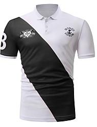 povoljno -Polo Muškarci - Aktivan Sport Izlasci Color block Kolaž Crno-bijela