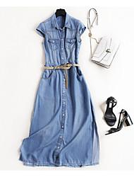 cheap -Women's Holiday Slim Shift Dress - Solid Colored High Waist Maxi Shirt Collar