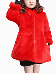 cheap -Girls' Daily Solid Jacket & Coat, Cotton Polyester Winter Fall Long Sleeves Dresswear Beige Fuchsia Red
