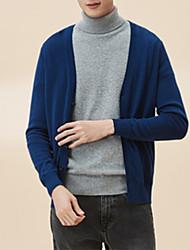 Недорогие -Муж. Длинный рукав Кардиган - Сплошной цвет V-образный вырез