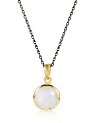 cheap -Women's Moonstone S925 Sterling Silver 18K Gold Plated Pendant Necklace - Elegant Sweet Circle Necklace For Gift Daily