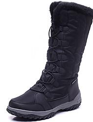 baratos -Mulheres Sapatos Lona Outono / Inverno Botas de Neve Botas Esquí Sem Salto Botas Cano Alto Preto