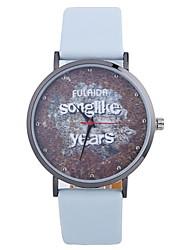 abordables -Mujer Reloj de Moda Chino Esfera Grande PU Banda Moda / Reloj con palabras Negro / Blanco / Azul / Un año