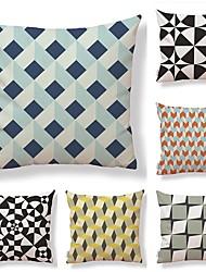 baratos -6 pçs Téxtil Algodão/Linho Fronha Cobertura de Almofada, Art Deco Padrão em Grelha/Xadrez Inovador Geométrico Alta qualidade