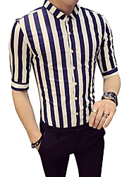 Недорогие -Муж. Рубашка Деловые Классический Полоски Контрастных цветов
