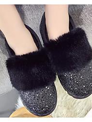 povoljno -Žene Cipele Sitne šljokice Jesen Zima Čizme za snijeg Čizme Ravna potpetica Čizme gležnjače / do gležnja za Kauzalni Crn Sive boje Pink