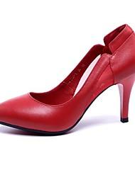 preiswerte -Damen Schuhe Leder Frühling Sommer Pumps High Heels Stöckelabsatz Spitze Zehe für Normal Schwarz Rot