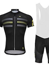 billiga Sport och friluftsliv-Malciklo Cykeltröja med Haklapp-shorts - Vit Svart Cykel Bib Shorts Tröja, Snabb tork, Anatomisk design, Reflexremsa, Sommar, Lycra