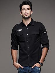 Недорогие -Муж. Вышивка Рубашка Классический Армия Однотонный