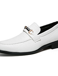 cheap -Men's Shoes Patent Leather Spring Fall Comfort Loafers & Slip-Ons Rivet for Casual Office & Career White Black